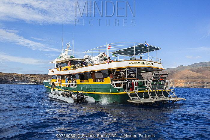 Solmar V, luxury liveaboard boat at sea, San Benedicto, Revillagigedo Archipelago Biosphere Reserve, Socorro Islands, Western Mexico