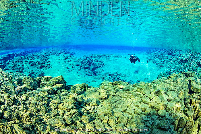 Scuba diver in the Silfra Lagoon, with a shallow sandy bottom, visibility stretching to 120m, Thingvellir National Park, Iceland.