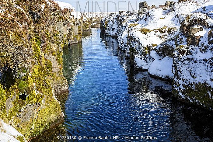 The volcanic crack Nesgja, in the Asbyrgi National Park, northern Iceland