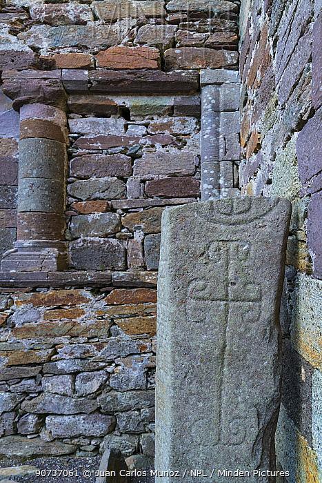 Carved stone in Kilmalkedar Monastery, Dingle Peninsula, County Kerry, Ireland, Europe. September.