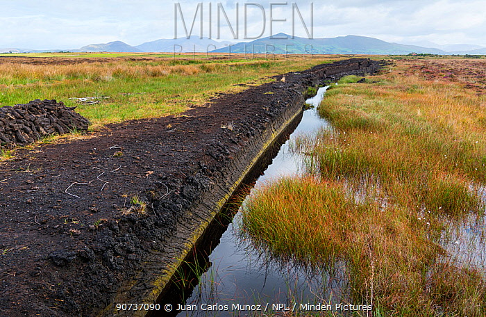 Peat extraction, Iveragh Peninsula, County Kerry, Ireland, Europe. September 2015.