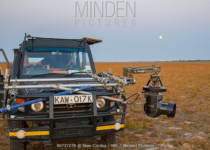 Cineflex on  4WD vehicle, camera rig. On location to film The Hunt. Liuwa National Park, Zambia. October 2013.