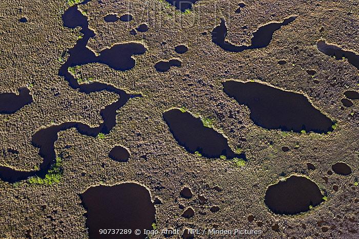 Aerial view of wetlands and grasslands, Everglades National Park, Florida, USA, January 2015.
