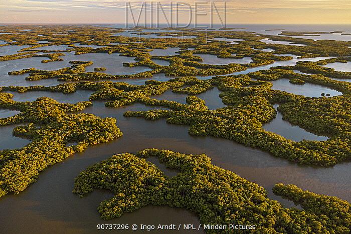 Mangove Islands, aerial shot, Ten Thousand Islands, Everglades National Park, Florida, USA, January 2015.