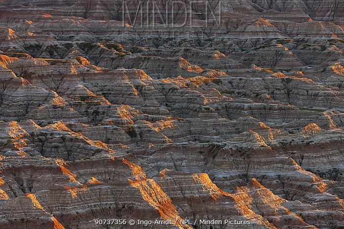 Eroded landscape, Sandstone striations and erosional features, Badlands National Park, South Dakota, USA September 2014.