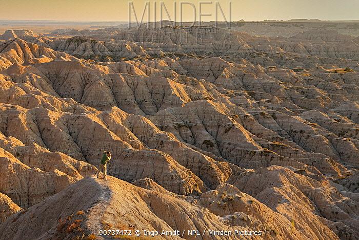 Wildlife Photographer Ingo Arndt taking pictures of Badlands National Park, South Dakota, USA September 2014.