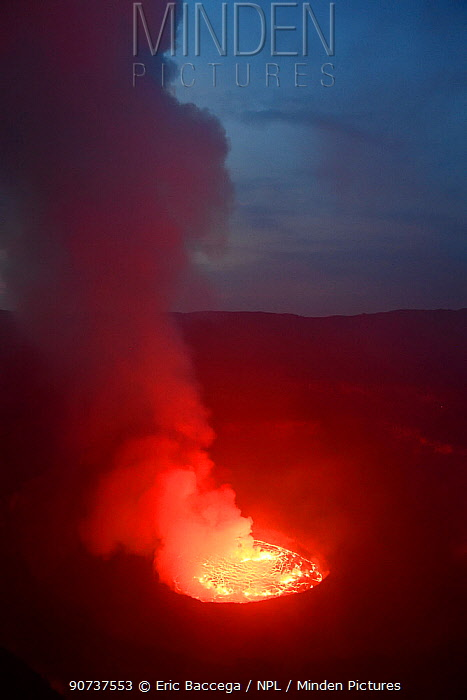 Lava lake at night in the crater of Nyiragongo Volcano, Virunga National Park, North Kivu Province, Democratic Republic of Congo