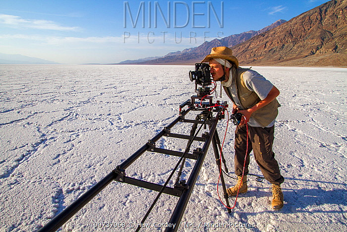 German Wildlife Cameraman, Rolf Steinmann, setting up a tracking time-lapse in Badwater Basin, Death Valley, California, May 2011 on location for Discovery North America series