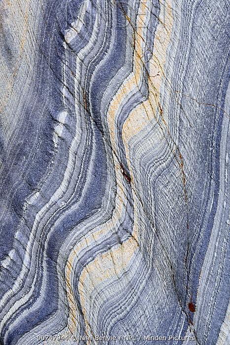 Abstract pattern detail in Slate rock, Kintra, Islay, Scotland