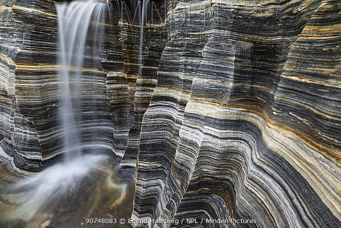 Waterfall over  marble bedrock  in the Padjelanta National Park, Laponia World Heritage Site, Swedish Lapland, Sweden.