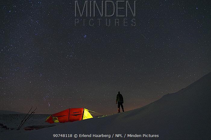 Camping in winter in the Dovrefjell-Sunndalsfjella National Park. Sor-Trondelag, Norway January