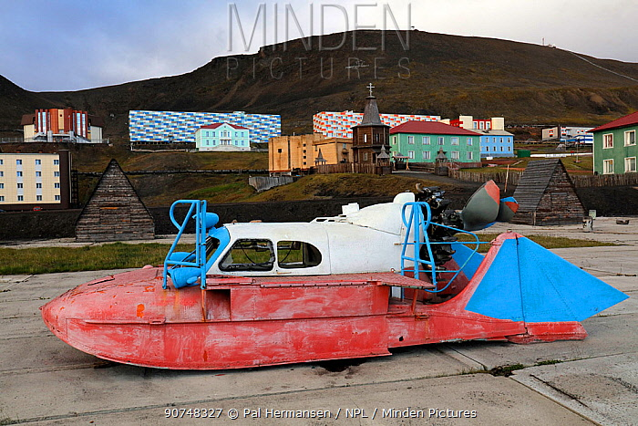Boat in Barentsburg, Russian settlement, Svalbard, Norway, July 2016.