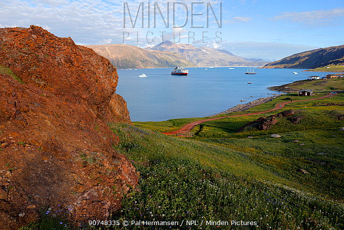 Landscape of Greenland with boats,, Quassiarsuk/Brattahlid, southern Greenland, July 2016.