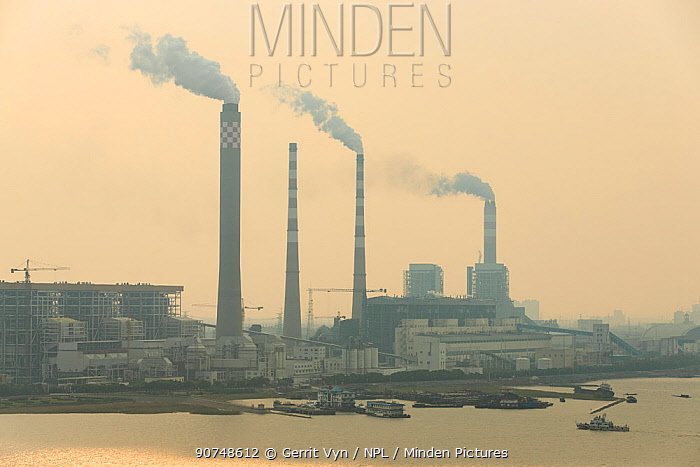 Coal fired power plant and pollution north of Shanghai. China, October 2013.