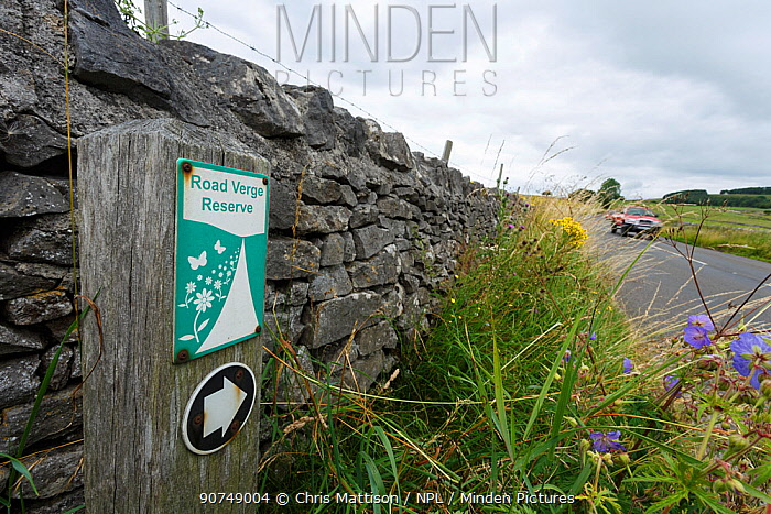 Roadside verge reserve sign, near Wardlow, Peak District National Park, Derbyshire, UK