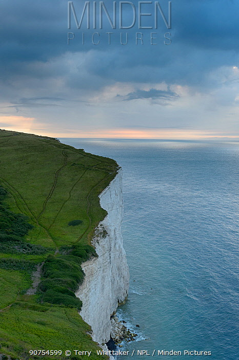 Receding storm over White Cliffs of Dover. Kent, UK. July