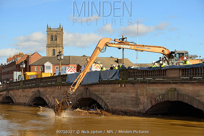 Crane removing debris piling up against the River Severn bridge in Worcester after a period of heavy rain, Gloucestershire, February 2014.