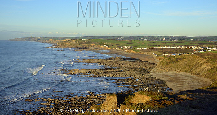 Overview of Widemouth Bay, near Bude, Cornwall, UK, November 2014.