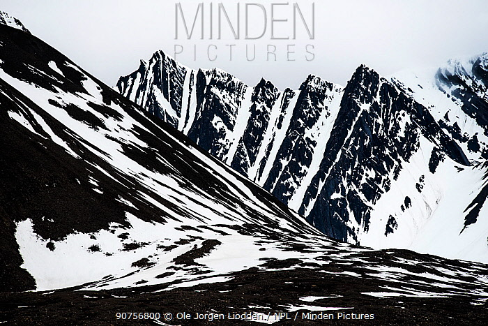 Mountains in Bellsund, Svalbard, Norway, June 2015.