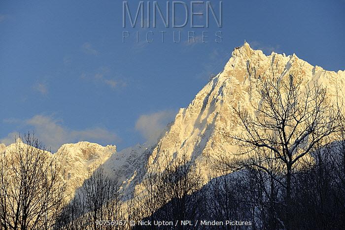 Mont Blanc and the Auguille du Midi at dusk, Haute-Savoie, France, February 2013.