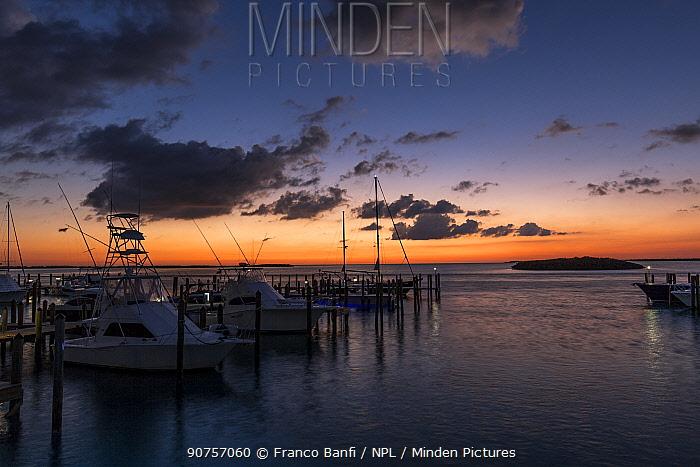 Sunrise at the marina, South Bimini, Bahamas. The Bahamas National Shark Sanctuary, West Atlantic Ocean.