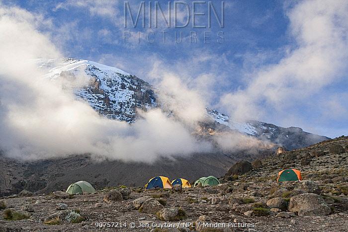 Camp beneath the summit on the Machame Trail, Mount Kilimanjaro, Tanzania. May 2008