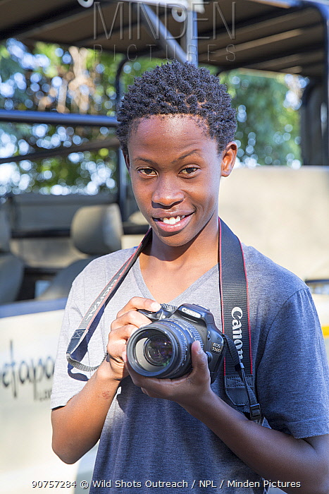 Pupil Shawn Molea during residential photography course organised by Wild Shots Outreach. Kruger National Park, South Africa, June 2017.