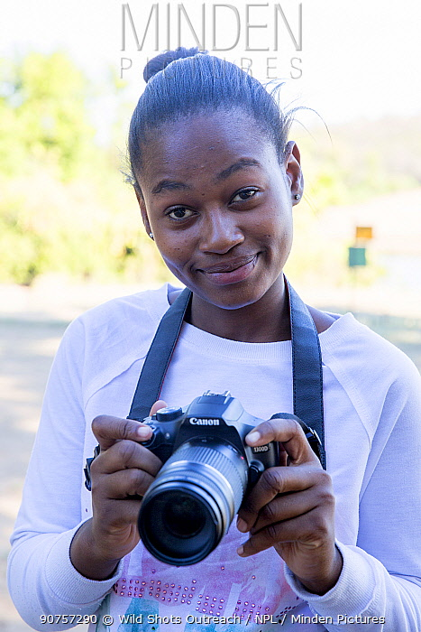 Pupil Prisence Mashaba during residential photography course organised by Wild Shots Outreach. Kruger National Park, South Africa, June 2017.