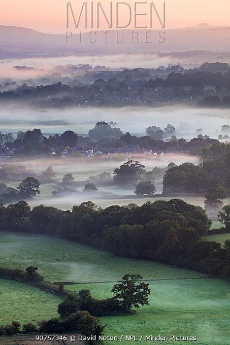 Misty morning in the Blackmore Vale, Dorset, England, UK, September 2015.
