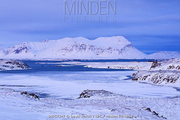 Hofstadavogur and Bjarnarhafnarfjall on a winter morning, Snaefeelsness Peninsula, Iceland, February 2016.