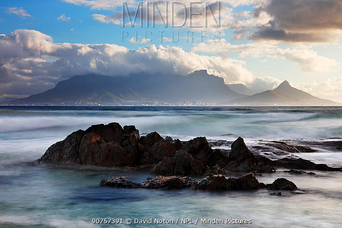 Table Mountain and Cape Town from Bloubergstrand, western Cape, South Africa, December 2014.
