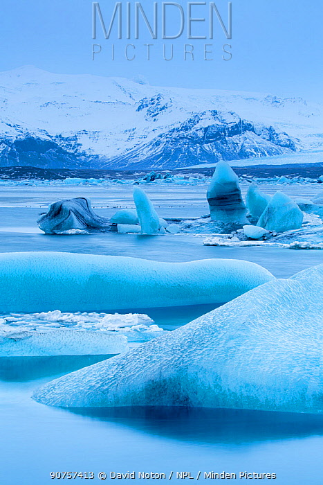 Ice in the galcial lagoon at Jokulsarlon, Iceland, February.