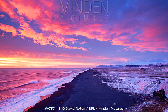Icelandic beach at dusk looking west from Dyrholaey, Iceland, February 2015.