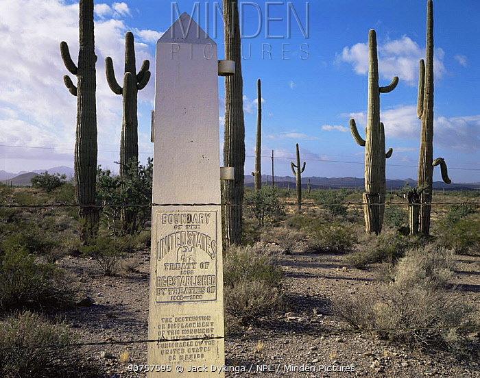 Mexico / USA boundary border marker, Quitobaquita Springs, Organ pipe cactus National Monument, Arizona, USA