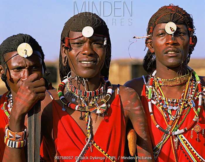 Masai warriors wearing traditional dress. Masai Mara National Reserve, Kenya