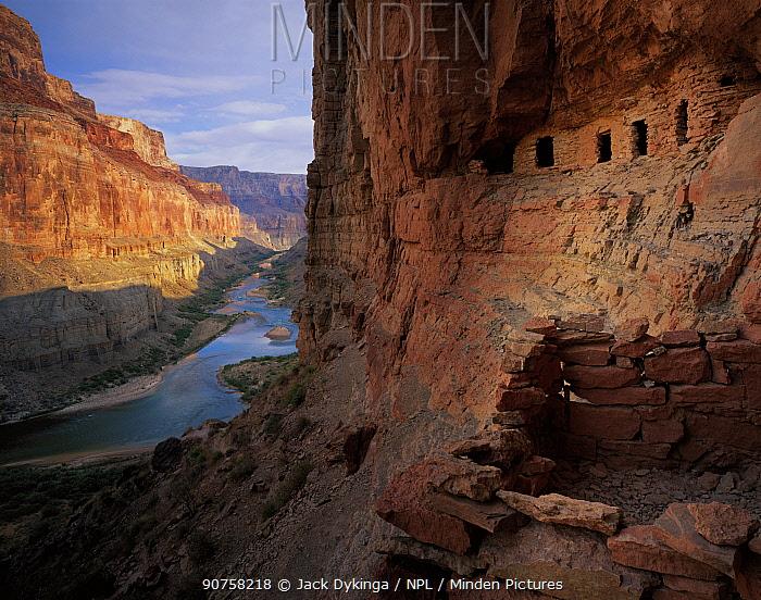 Nankoweap Graineries with Colorado River winding through canyon below, Grand Canyon National Park, Arizona, USA