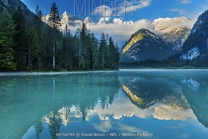Lago di Landro at dawn, Dolomite Mountains,  Sud Tirol/Alto Adige, Italy
