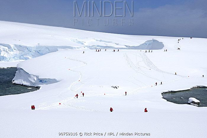 Tourists walking on snow mound, Charlotte Bay, Portal Point, Antarctic Peninsula, Antarctica. December 2015.