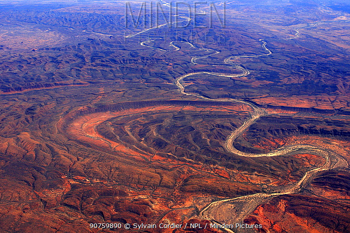 Aerial view of the Red Centre in Australia with dry river bed, Australia, October 2009.