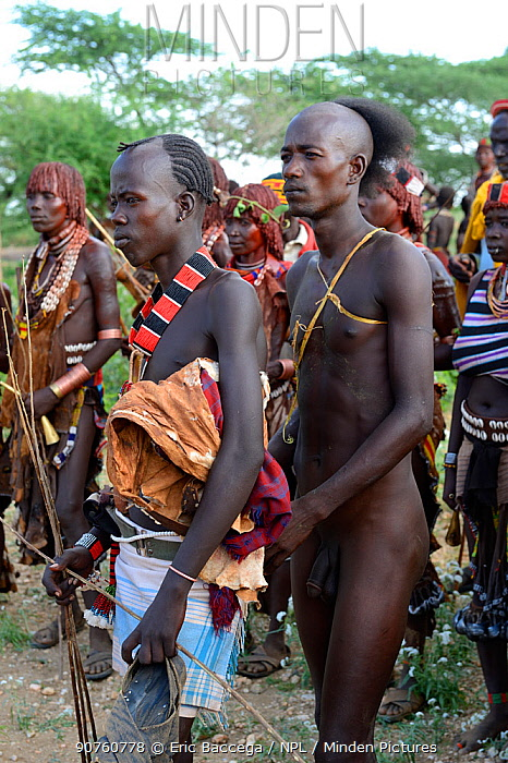 A young Hamer candidate for bull jumping, a rite of passage for boys to become men. Ukuli ceremony in Hamer tribe, Omo river Valley, Ethiopia, September 2014.