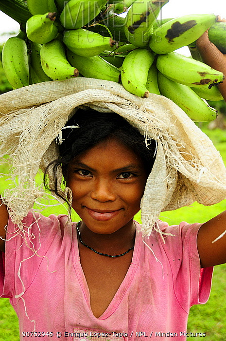 Honduran girl carrying bananas, Rio Platano Biosphere Reserve and UNESCO World Heritage Site, La Mosquitia, Honduras