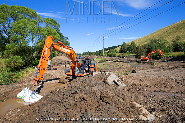Excavation works being carried out along river as part of re-naturalisation of river course to reduce flooding. Part of Eddleston Water Project led by Tweed Forum, Peebles, Tweeddale, Scotland, UK, June 2017