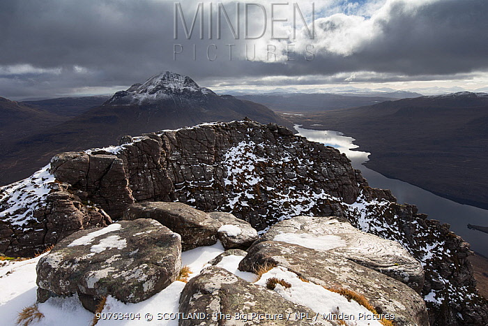 View east towards Cul Beag and over Loch Lurgainn from summit of Stac Pollaidh, Wester Ross, Scotland,  March 2017