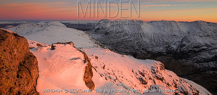 Snow covered mountains of Stob nan Cabar and Buachaille Etive Beag, looking south east from Am Bodach, Glen Coe, Lochaber, Scotland, UK, November  2016