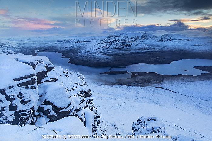 Ben Mor Coigach at sunset, viewed from Stac Pollaidh, Assynt, Wester Ross, Scotland, UK, November