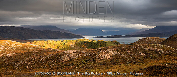 Loch Torridon in stormy weather with view to Liathach, Ben Damph, Wester Ross, Scotland, UK, October 2016.