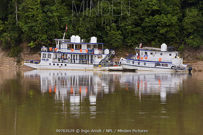 Boats moored on the bank of the Rio Yavari, Amazonia, Peru FOR SALE IN UK ONLY