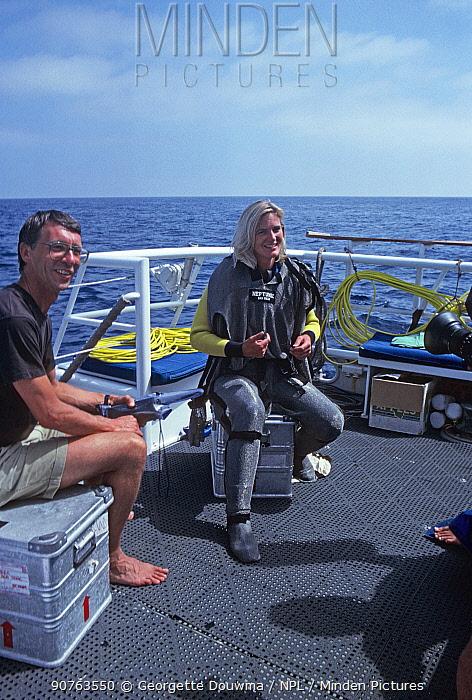 Robin Hellier and Martha Holmes, on board boat filming for BBC NHU Seatrek