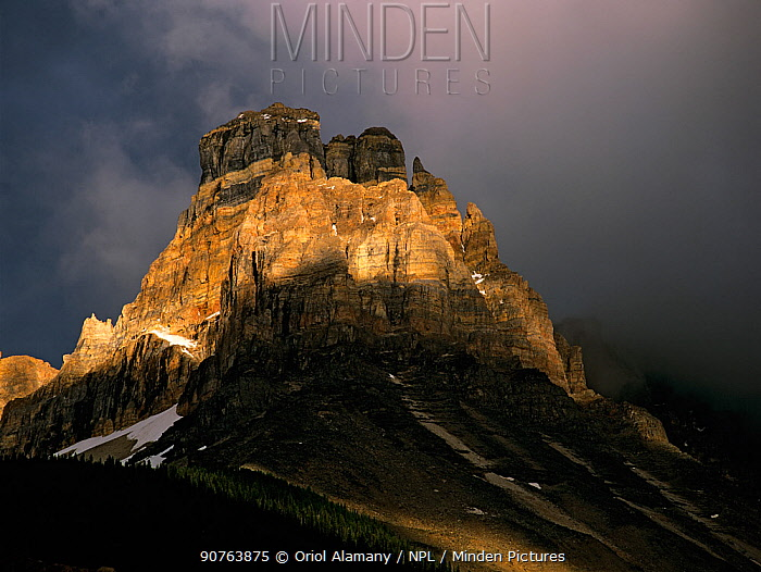Last rays of light on Cathedral Mountain peak, Yoho National Park, Rocky Mountains, British Columbia, Canada