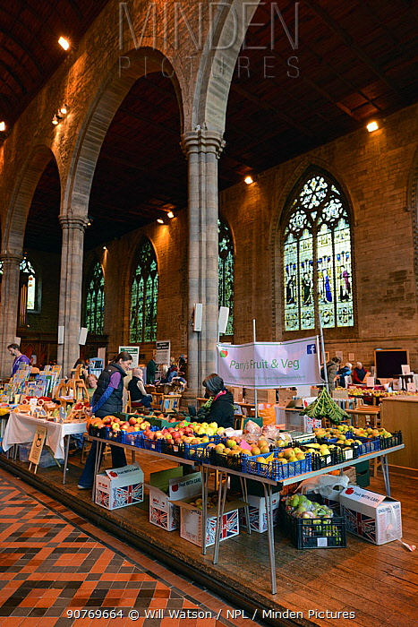 Leominster Apple Fair in Leominster Priory with English apples varieties for sale, Herefordshire, England. 15th October 2016